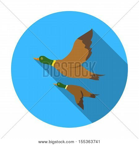 Ducks icon in flat style isolated on white background. Hunting symbol vector illustration.