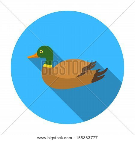 Duck icon in flat style isolated on white background. Hunting symbol vector illustration.