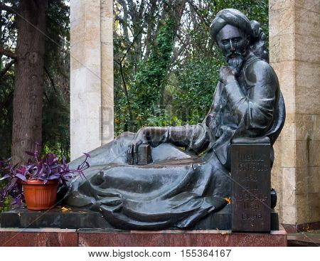 Partenit, Russia - November 09, 2015: Monument to Avicenna in the territory of the sanatorium
