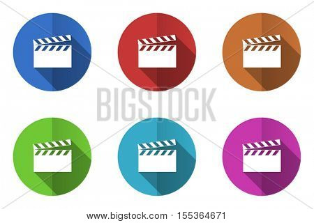 Flat design vector movie clip icons