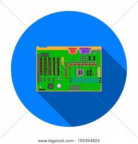 Motherboard icon in flat style isolated on white background. Personal computer symbol vector illustration.