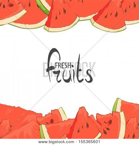 Slices of summer watermelon on a white background with a place for an inscription