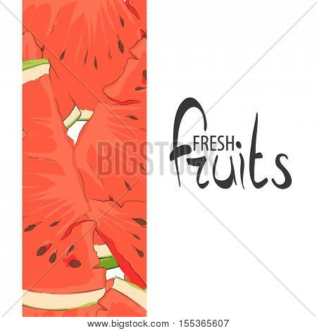 Summer watermelon slices on a white background with a place for an inscription