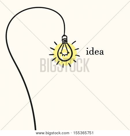 Creative concept of idea, Light bulb on long wire, Hand drawn illustration Vector sketch