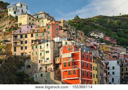 Riomaggiore (Cinque Terre) scenic view at golden hour