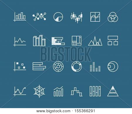 Line charts, vector diagrams. Set of linear charts for business, illustration of chart for presentation
