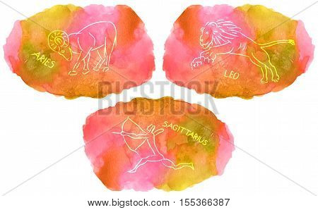 Zodiac Signs triplicity elements of fire on watercolor background Aries Leo Sagittarius