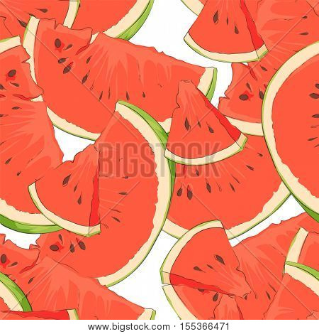 slices of watermelon with seeds on a white background that want to eat
