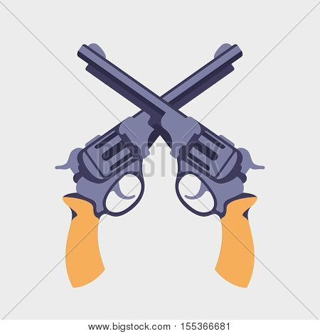 Guns flat vector illustration. Revolvers crossed in flat style, handgun revolver for western concept