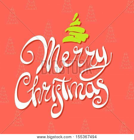 Elegant Merry Christmas lettering on a bright background with Christmas trees