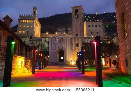 Beautiful view of San Giovanni square at Christmas time, Gubbio - Italy.
