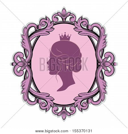 Elegance pink purple cameo with profile silhouette of a princess in a frame. Isolated on white background. Vector illustrations.