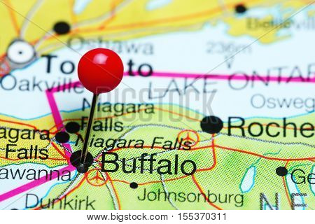 Buffalo pinned on a map of New York state, USA
