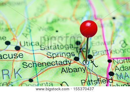 Albany pinned on a map of New York state, USA