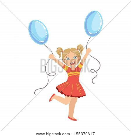 Girl With Ponytails In Red Dress With Two Blue Balloons Simple Design Illustration In Cute Fun Cartoon Style Isolated On White Background