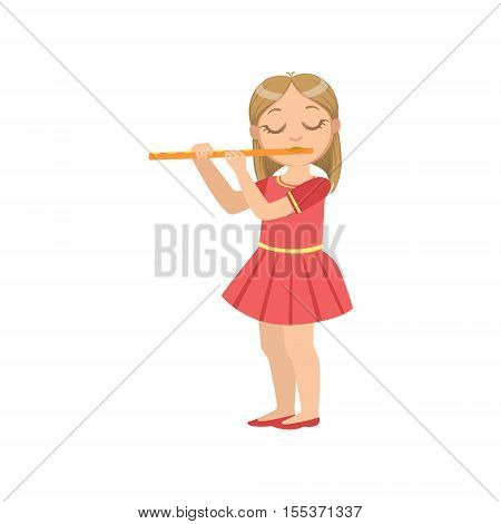 Girl In Red Dress Playing Flute. Simple Design Illustration With Kid Performing Musical Number In Cute Fun Cartoon Style Isolated On White Background