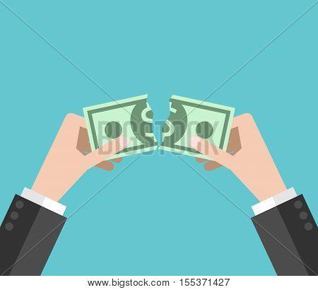 Hands Tearing Dollar