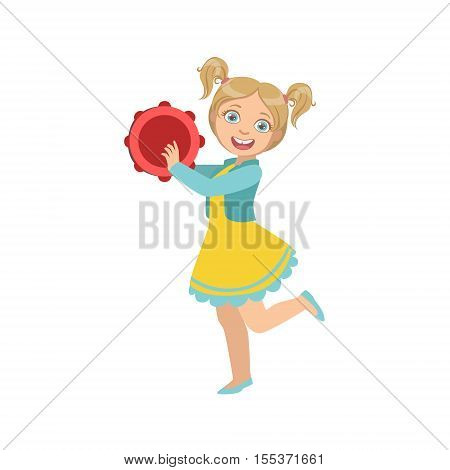 Girl With Ponytails Playing Tambourine. Simple Design Illustration With Kid Performing Musical Number In Cute Fun Cartoon Style Isolated On White Background