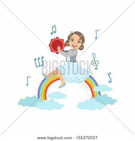 Girl Playing Tambourine With Rainbow And Clouds Decoration. Simple Design Illustration With Kid Performing Musical Number In Cute Fun Cartoon Style Isolated On White Background