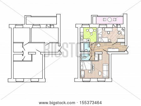 Plan apartments before and after redevelopment with furniture.House interior. Black and White floor plan of a modern apartment. Vector blueprint. Architectural background.