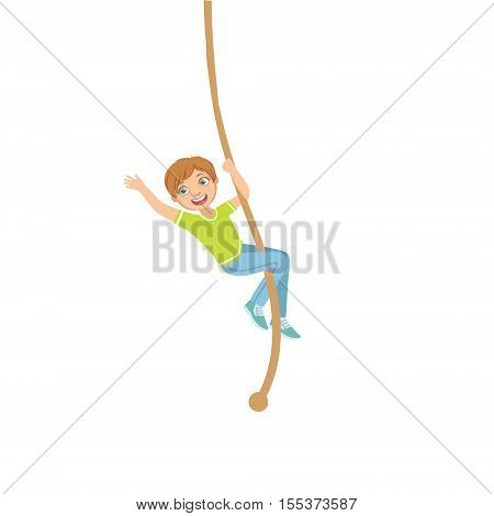 Boy Climbing A Rope In Physical Education Class In School Simple Design Illustration In Cute Fun Cartoon Style Isolated On White Background