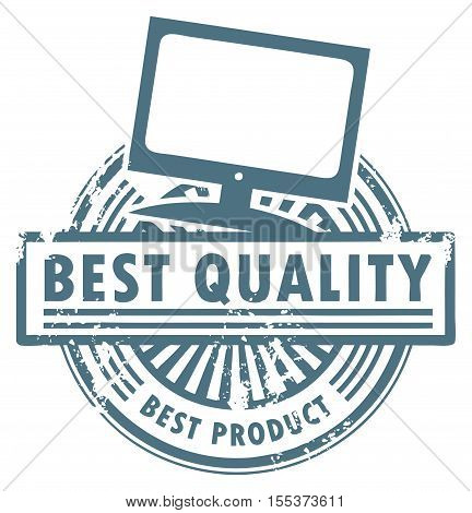 Grunge rubber stamp with the flat televisor and words best quality written inside, vector illustration