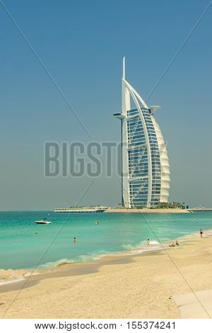 DUBAI, UAE - OCTOBER 14, 2016: The iconic Burj al Arab hotel in Dubai.  Built on a man made island, The Burj al Arab is the only 7 star hotel in the world