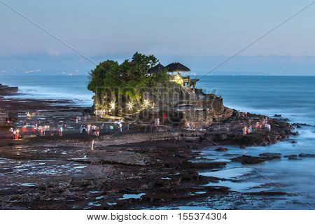 Famous Tanah Lot temple at twilight, Bali, Indonesia