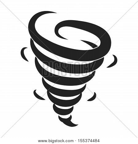 Tornado icon in black style isolated on white background. Weather symbol vector illustration.