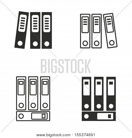Binder vector icons set. Black illustration isolated on white background for graphic and web design.