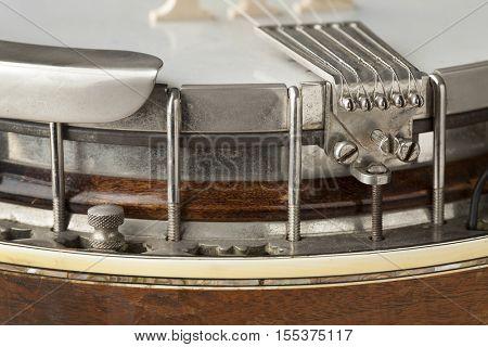 Banjo tailpiece close up