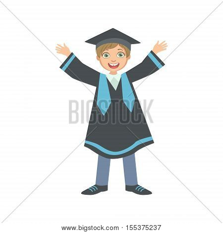 Happy Boy In Graduation Mantle And Square Black Hat Simple Design Illustration In Cute Fun Cartoon Style Isolated On White Background