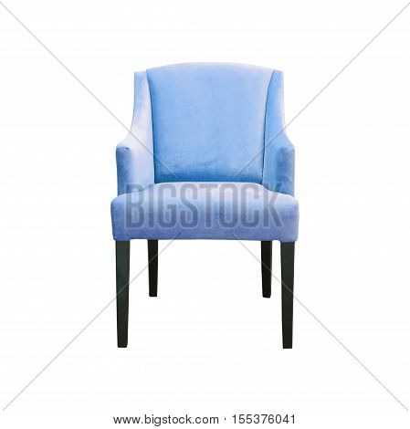 Blue chair covered by fabric isolated on white background with clipping path