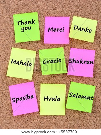 Thank you in different languages on notes