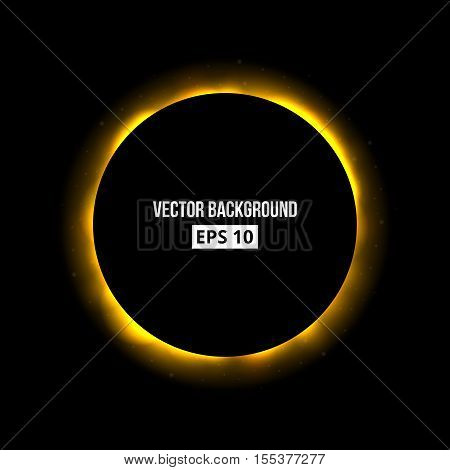 Abstract eclipse background. Bright explosion. Vector template, isolated eps 10