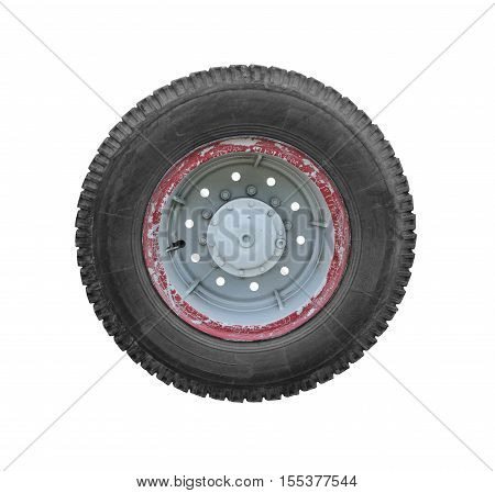 Truck Wheel isolated on white background clipping path