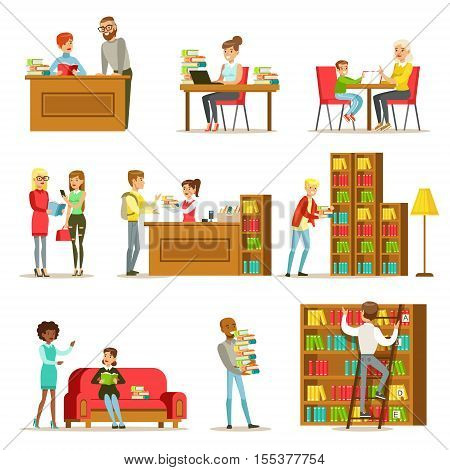 People Talking And Reading Books In Library Set Of Illustrations. Simple Cartoon Cute Stule Flat Vector Drawings On White Background.