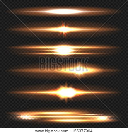 Blue horizontal lens flares pack. Laser beams, horizontal light rays. Vector, isolated, eps 10