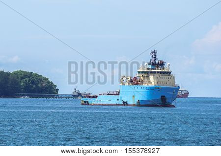 Labuan,Malaysia-Oct 30,2016:Offshore oil & gas sub-sea construction & support vessel at Labuan island.Labuan strategically located in the hub of Asia-Pacific offshore oil exploration and production.
