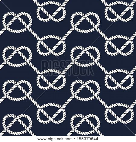 Seamless nautical rope pattern. Endless navy illustration with white loop ornament, overhand marine knots on dark blue backdrop. Trendy maritime style background. For fabric, wallpaper, wrapping