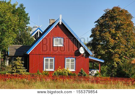 Old fisherman's house in Preila town, Lithuania