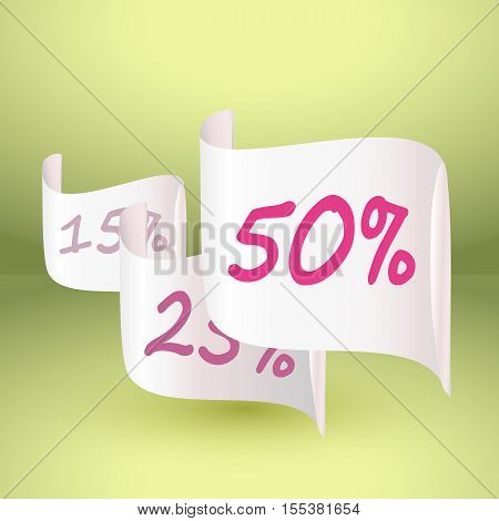 Discount of 50 and other percent on white realistic paper. EPS10 vector illustration.