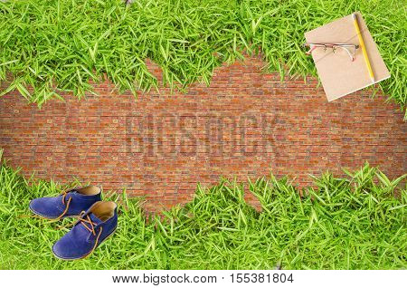 Take a break rest breaks on green grass relieve brain fatigue from hard work. The fresh again School out or back to school