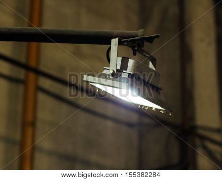 LED flood light indoor lamp grey background