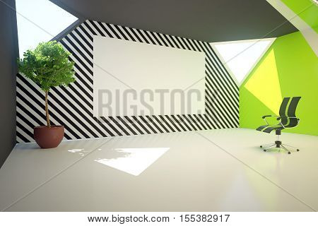 Modern green interior with blank whiteboard on patterned wall decorative plant and swivel chair. Mock up 3D Rendering. Presentation concept