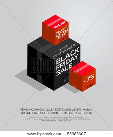 Black Friday sale. Isometric style. Black Friday sale inscription on isometric boxes. Sale and discount. Black Friday banner.