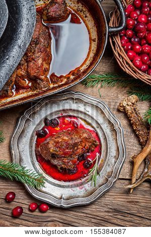 Roast Venison Straight From The Hunt With Cranberry Sauce