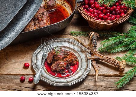 Freshly Roasted Venison With Cranberry Sauce And Rosemary