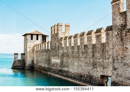 Wall of the Scaliger Castle in Sirmione on Lake Garda Italy.