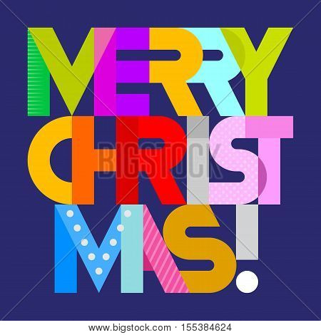 Merry Christmas! - vibrant colors vector decorative text architecture. Lettering design isolated on a dark blue background.